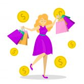 Happy female hold many shopping bags. Shopaholic on the big sale. Pretty shopper with a smile. Discount in shop.
