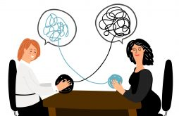 Friendly support concept, two women talking, phsycologist help vector illustration